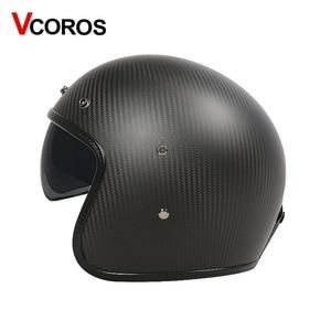 Image 2 - VCOROS Brand Carbon fiber Vintage motorcycle Helmet 3/4 Retro Motorbike helmet open face moto helmets ECE approved