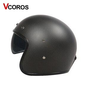 Image 2 - VCOROS ブランド炭素繊維ヴィンテージ moto rcycle ヘルメット 3/4 レトロ moto rbike ヘルメットオープンフェイス moto ヘルメット ece 承認