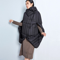 Original Design 90% White Duck Down Women's Unique Turtleneck Down Coat Women Cloak Style Down Coat