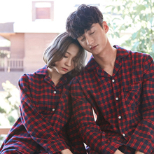 Scottish checkered couple pajamas women cotton long-sleeved autumn and winter simple casual home service suit