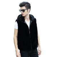 2018 new men's imitation suede vest men's imitation fur vest large size casual fur hooded wool coat HN147