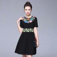 Newest Fashion Runway Dress Women S Elegant Gauze Flower Floral Embroidery Black Vintage Dress