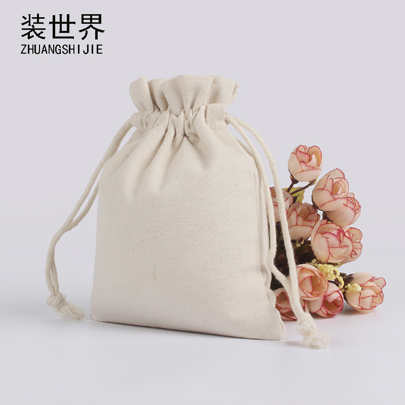 3pcs/lot 15*20cm Natural Resuable Cotton Canvas Pouch Custom Logo Print Eco Drawstring Gift Candies Food Cookie Packaging Bags