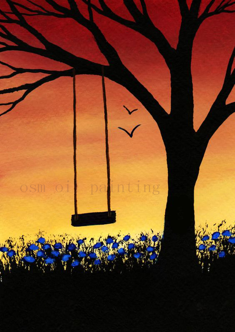 Hand Painted Tree Swing Modern Folk Art Painting Days