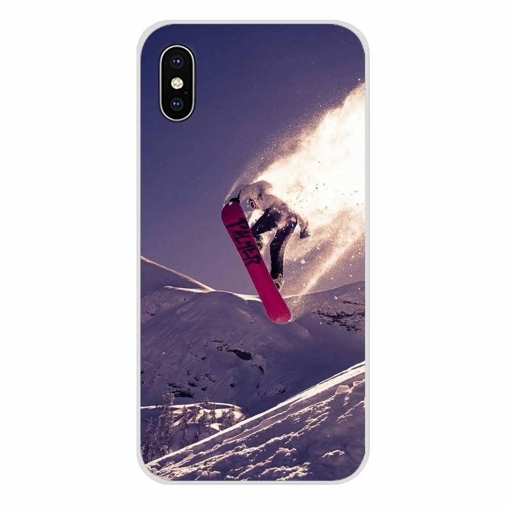 Kar Veya Kalıp Kayak Snowboard Spor Şeffaf TPU Kapakları Apple iPhone X Için XR XS MAX 4 4 S 5 5 S 5C SE 6 6 S 7 8 Artı ipod touch 5 6