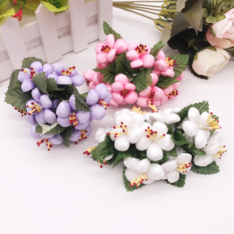 10pcs Artificial Flower Silk Gradient Foam plum Handmade Bouquet For Wedding Home Decoration DIY Scrapbooking Wreath Fake Flower thumbnail