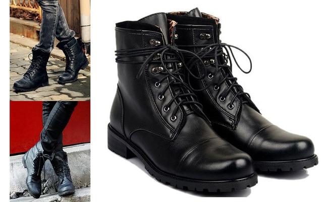 Moda Tiding Hombre Rock Cuero Zapatos Patea Genuino De Estilo Negros ZqIwB