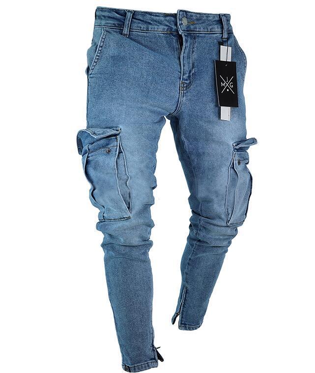 Mens Skinny Jeans Trend Knee Hole Zipper Pocket Denim Biker Jeans Hip Hop Distressed Slim Elastic Jeans Washed Jeans