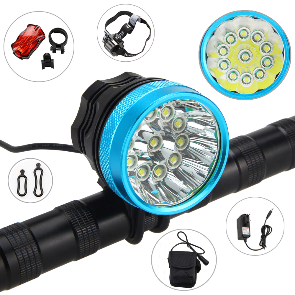 Bike Lamp 28000LM 11x XML T6 LED Bicycle Light 3 Modes Front Headlight Torch+Battery Pack+Charger+Taillight waterproof 8000 lm 4x xml t6 led cycling bicycle bike front tail light lamp headlight headlamp 6400mah battery pack charger