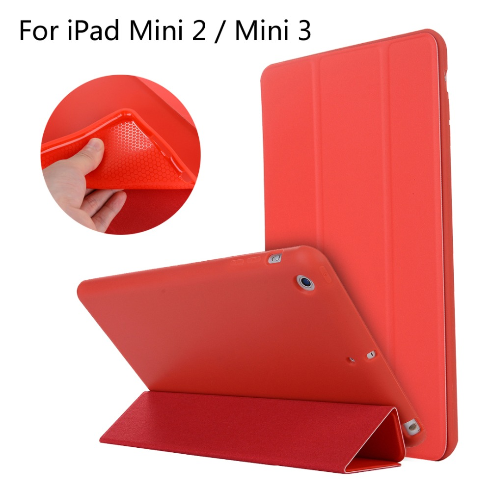For iPad Mini2/3 / Mini 2 / 3 High-quality case Cover Smart Slim Magnetic TPU Leather Stand Cases + Film + Stylus for ipad mini4 cover high quality soft tpu rubber back case for ipad mini 4 silicone back cover semi transparent case shell skin