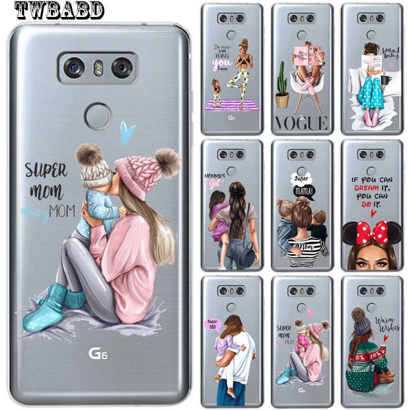 أزياء سوبر أبي فتاة أمي الطفل جراب هاتف لتغطية LG Q6 Q8 K7 K8 K10 2017 X شاشة الطاقة 2 3 G3 G4 G5 G6 G7 V30 Etui