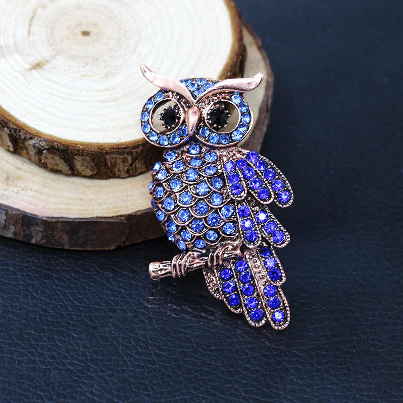 Big Owl Brooches For Wedding Women Chic Purple Cristal Broches