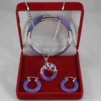 Fine Jewellery white gold Purple Jadeite Earring Pendant Bracelet Set