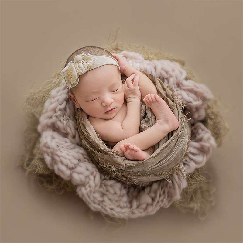 55x55cm Newborn Flokati Baby Photography Props Knitted Wool Blanket Boy Photoshoot Accessories