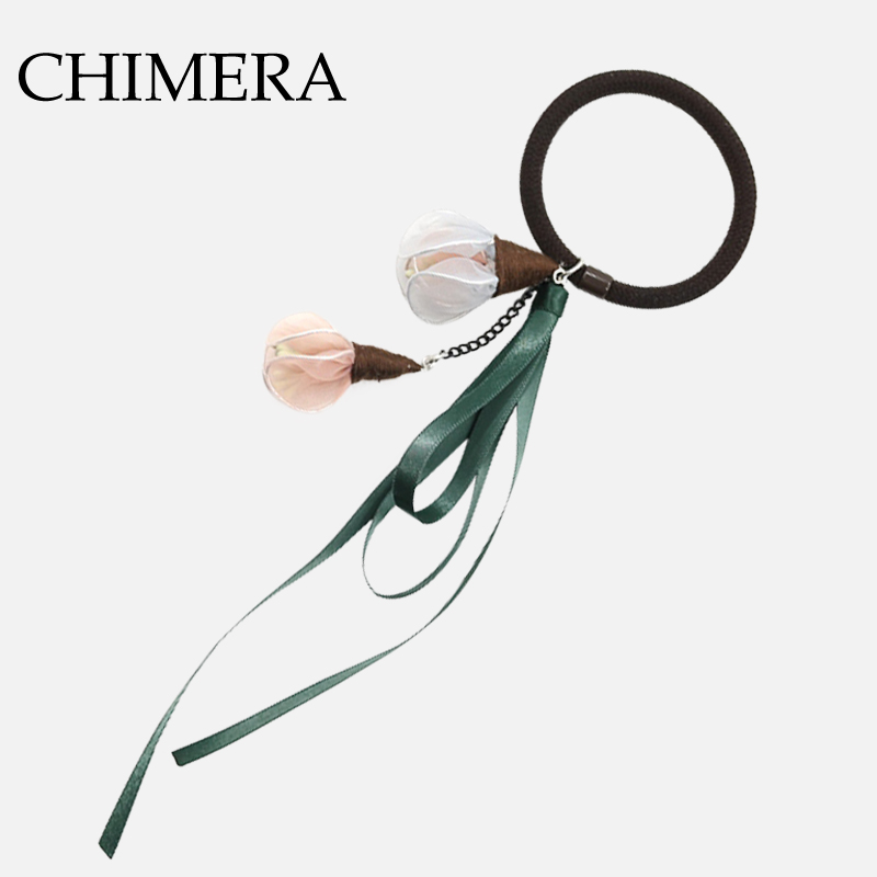 CHIMERA Fashion Hair Rope Yarn Green Flower Ribbon Rubber Band Hairbands Elastic  Tie Hair Accessories for Women 3160310-in Hair Jewelry from Jewelry ... af21681c7457