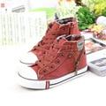 Grande clásico de Lona de Los Niños Zapatos de Las Muchachas Zapatos Botas de Alta Superior Sapato Menina Calidad Ocasional de Los Deportes de Mezclilla Zapatos de Lona de Algodón