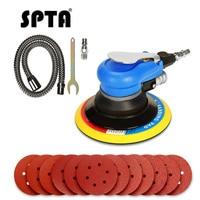 SPTA 6Inch Air Random Orbital Dual Action Sander Orbit Polisher Sanding Grinding Tools Pneumatic with Sanding Discs Paper Pad
