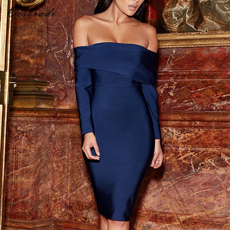 Ocstrade Long Sleeve Sexy Party Dress 2017 Woman Sexy Off the Shoulder Bardot Midnight Blue Bandage