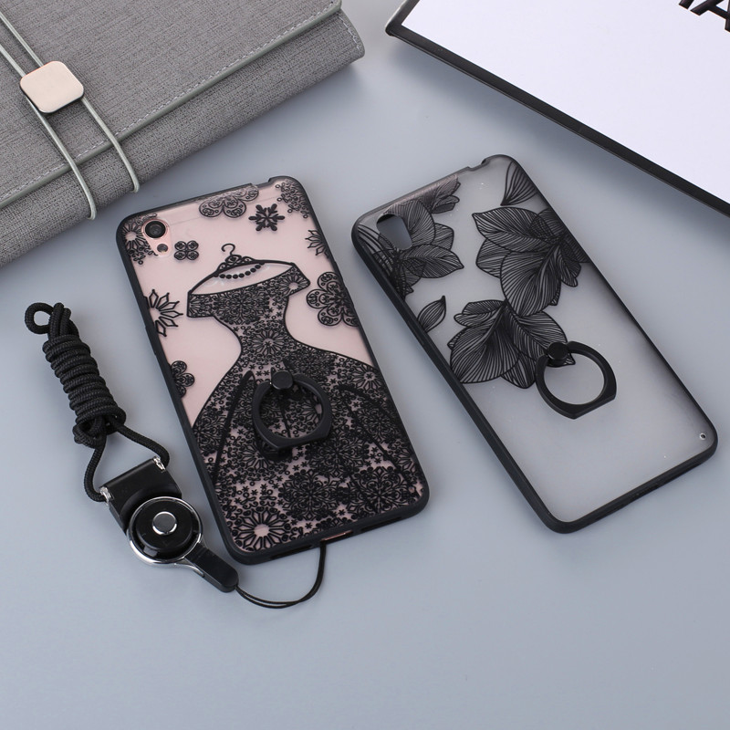 For Oppo A37 Cute Cartoon Painted Phone Case with Ring Grip Rope for Oppo A37 Soft TPU Frame Hard Plastic Back Cover TPU+PC Bag