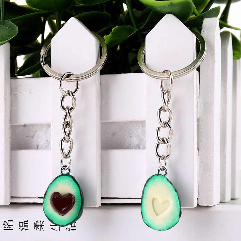 จำลองใหม่ผลไม้ Avocado รูปหัวใจ 3D เครื่องปั้นดินเผา Avocado Key Chains เครื่องประดับของขวัญแฟชั่น