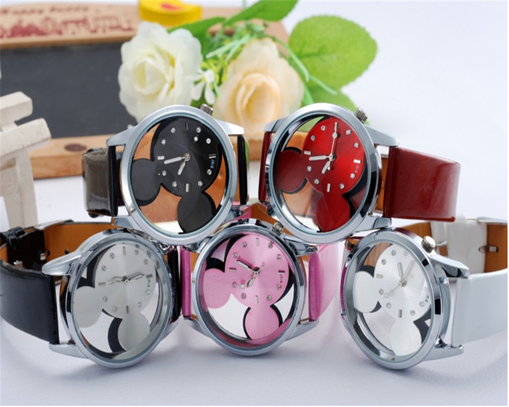2018 Fashion Mickey Women Watches Quartz Casual Transparent Hollow Dial Leather Wristwatches Women Dress Watch Relogio Feminino relogio feminino fashion cartoon mickey women watch men transparent hollow quartz watches leather strap kid wristwatch girl gift