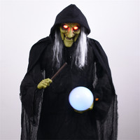 Halloween Decoration Standing Large Witch Hold Glowing Ball Home Office Ktv Bar Club Creepy Doll Props Electric Witch Ornament