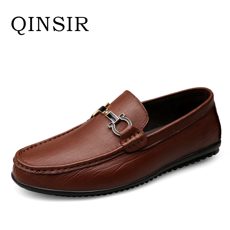 Genuine Leather Mens Flats Shoes Fashion Loafers Handmade Men Casual Shoes Moccasins For Men Zapatos Hombre Doug Shoes Slip On branded men s penny loafes casual men s full grain leather emboss crocodile boat shoes slip on breathable moccasin driving shoes