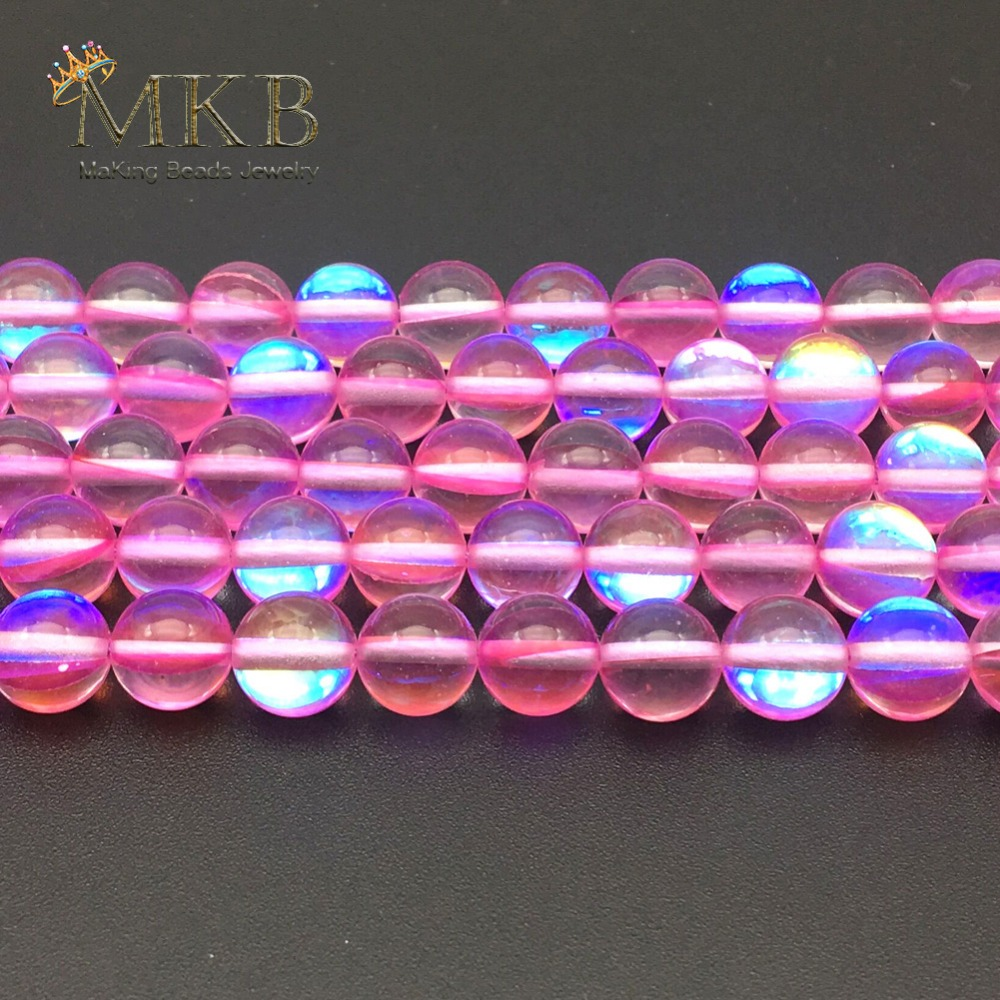 f9cbfc5fa4f0 Wholesale A+ Fuchsia Austria Crystal Beads Synthesis Moonstone Beads For  Jewerly Making Bracelet Necklace 6 8
