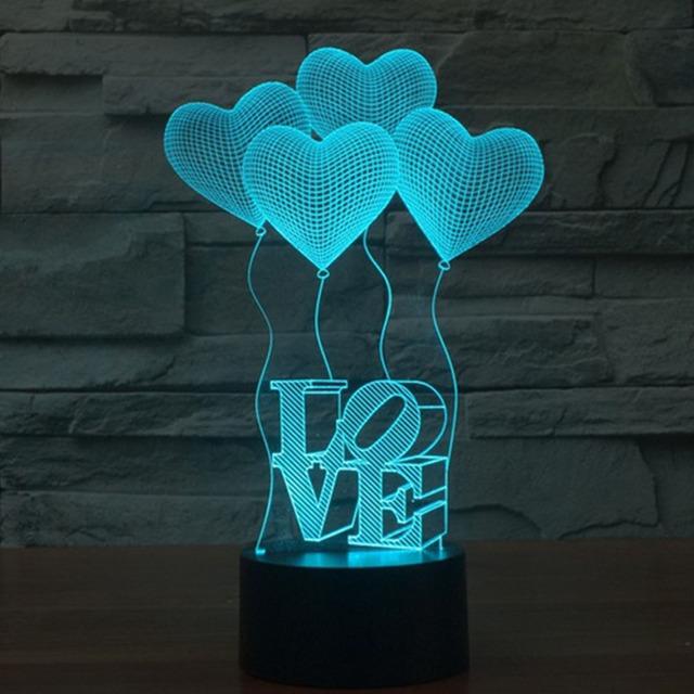 New 3D Recarregável Lâmpada Luminary Luz Noturna Amor 4 Coração colorido Lâmpada de Mesa USB Conduziu a Luz Da Noite 3D Presente Para crianças