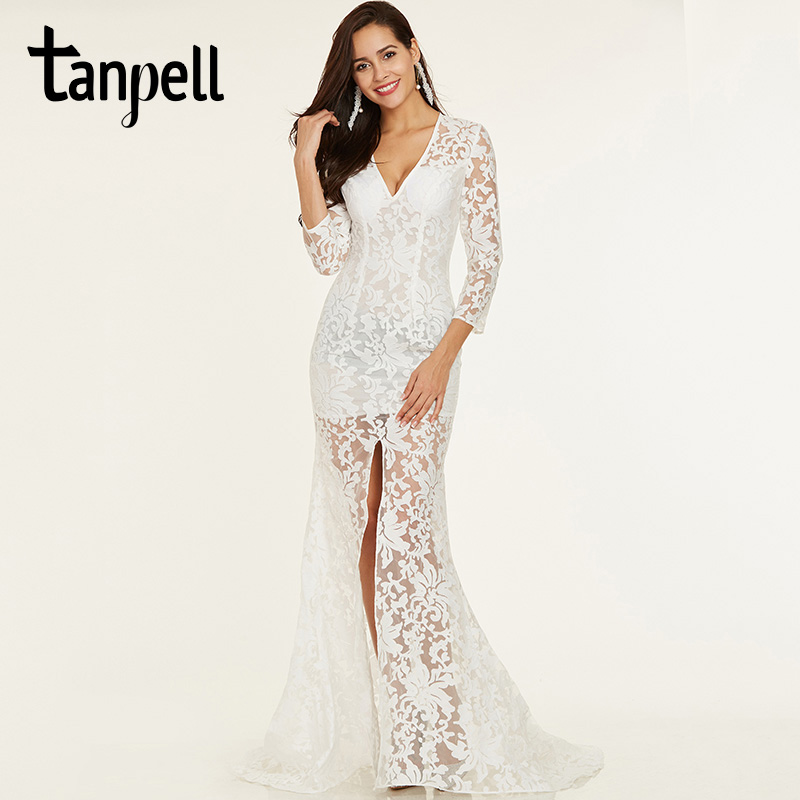 Tanpell split front long evening dresses ivory v neck full sleeves floor length a line gown cheap women lace formal evening gown