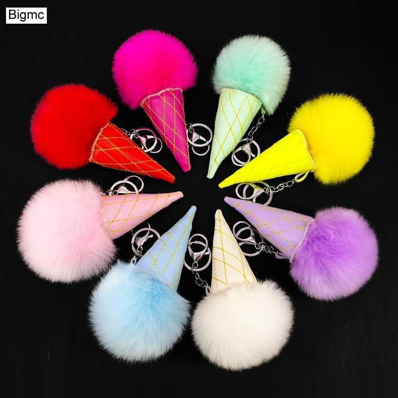 Sorvete Chaveiro de Couro cor Sólida Faux Fur Pompom Keychain lindo Anel Chave Do Carro Mulheres Cadeia Saco criativo Para O Negócio K1665