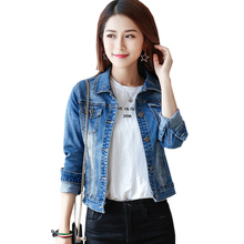 Jacket Sale Full Square Collar Button For Women 2017 New Jean Female Spring Slim Feminine Coat Solid Color Casual Coats K203 A2