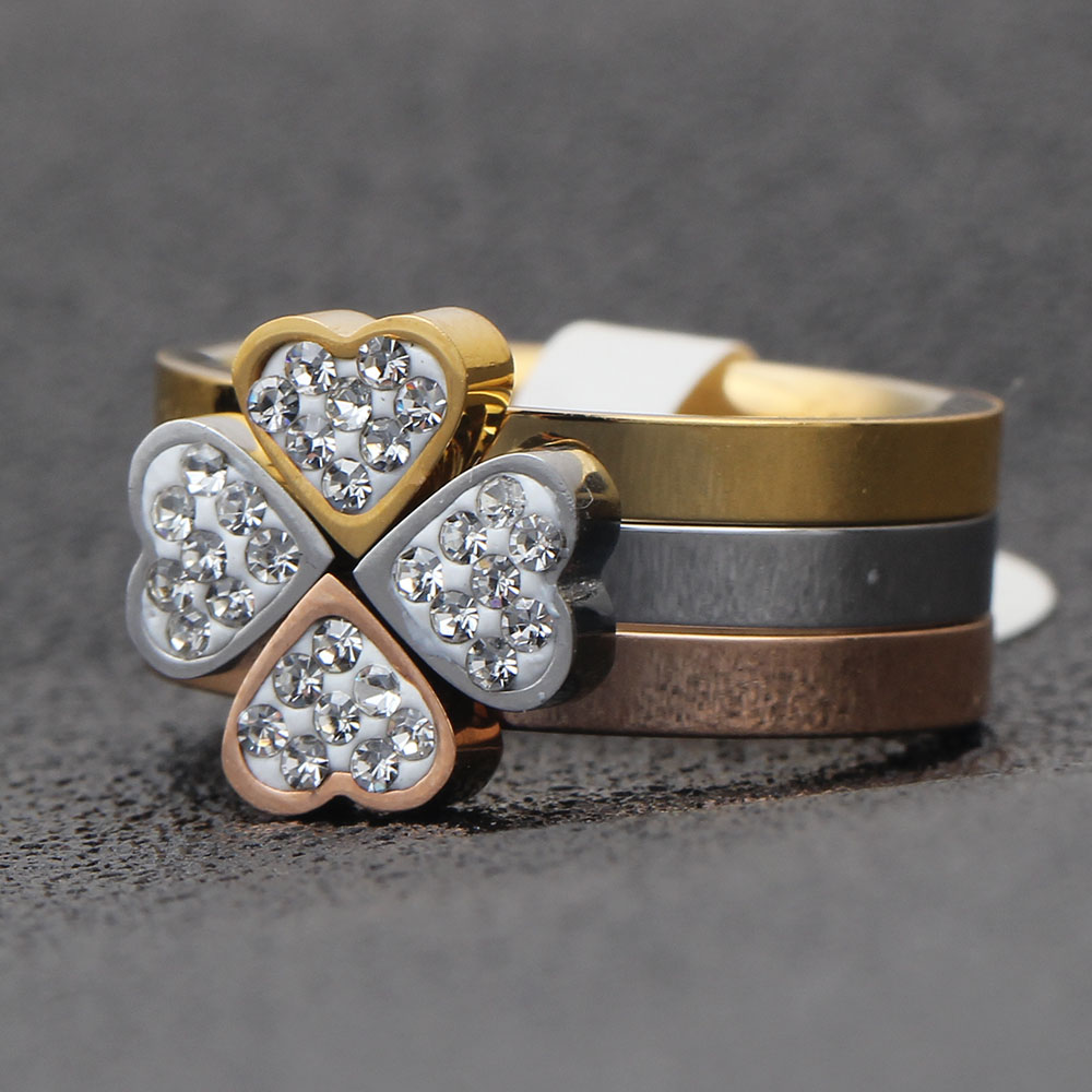 316L Stainless Steel Jewelry Unique 3in1 Heart Rings For Women Surgical Steel Nickle Free CZ Crystal Flower rings 5