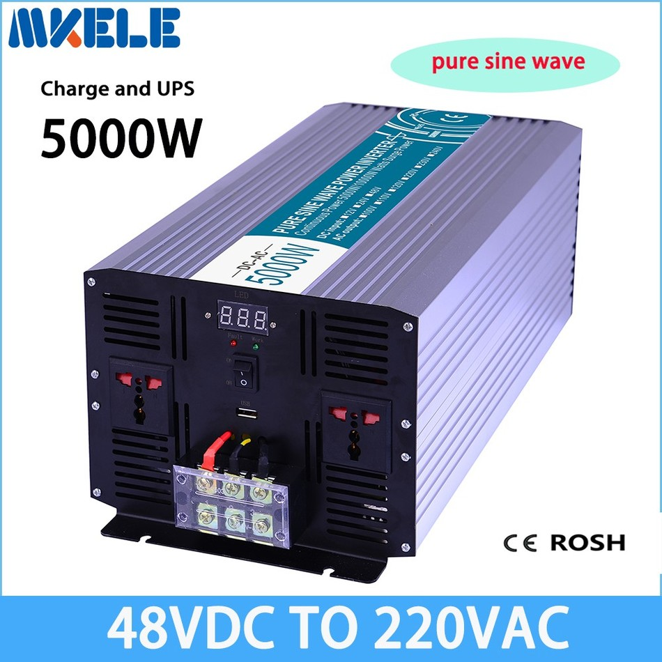 MKP5000-482-C dc to ac UPS power inverter 5000w 48v to 220v,Pure Sine Wave solar inverter voltage converter with charger and UPS 5000w dc 48v to ac 110v charger modified sine wave iverter ied digitai dispiay ce rohs china 5000 481g c ups