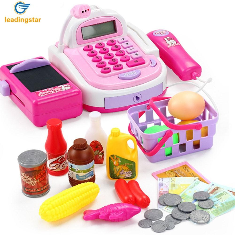 все цены на LeadingStar Kids Simulation Cash Register Calculator Cashier with Microphone and Sounds Pretend Play Toys онлайн
