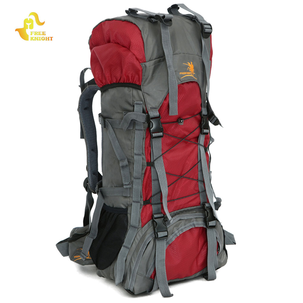 Free Knight 60L Nylon Waterproof Large Mountaineering Backpack Trekking Camping Bag Climbing Hiking Back Pack Outdoor Sport Bag outad 60 5l outdoor water resistant nylon sport backpack hiking bag camping travel pack mountaineer climbing sightseeing hike