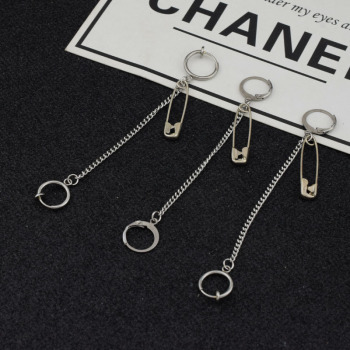 Pin Chain Pendant Stainless Steel Stud Earring