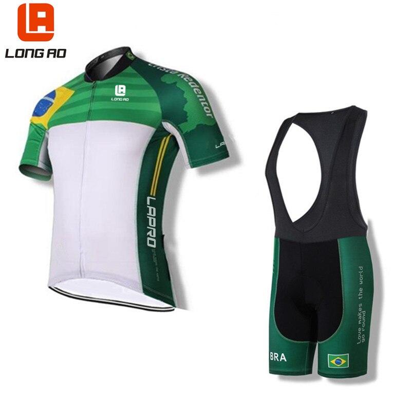 LONG AO Brazil team Summer short sleeve Mens Cycling clothings Cycling jerseys sets Quick-dry breathable Bib lycra shorts