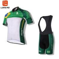 Longao Brazil Men Womens Cycling Jersey Set Ropa De Camisa Ciclismo Short Sleeve USA Bike Clothing