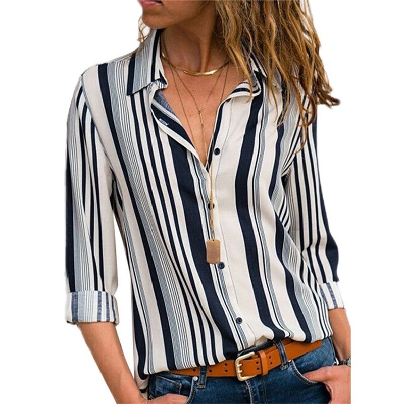 Rogi Women Striped Button Blouse Casual Long Sleeve Blouses Shirts Elegant Office Lady Loose Shirt Tops Tunic Chemise Femme(China)