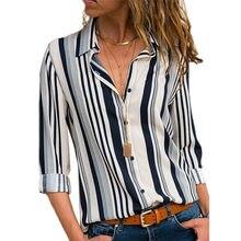 86973e9e3d Rogi kobiety w paski przycisk bluzka Casual bluzki z długim rękawem koszule  elegancka pani urząd luźna
