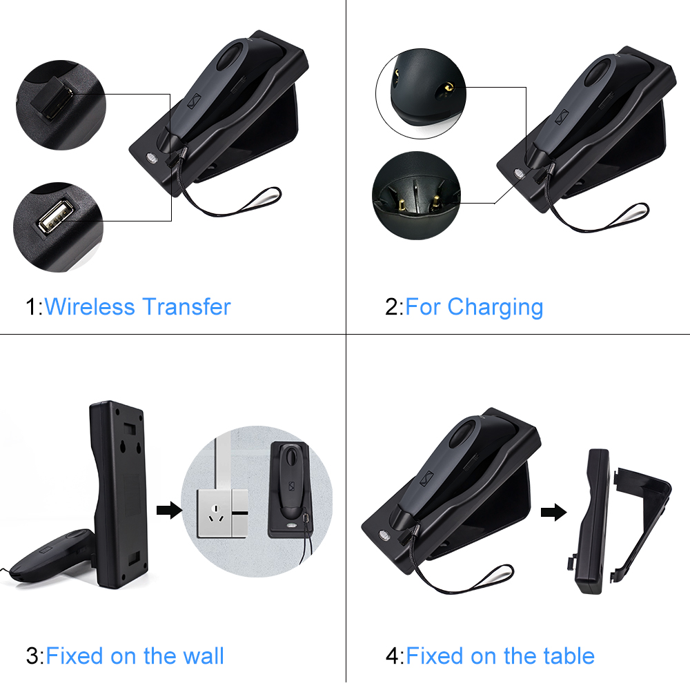 2D Bluetooth Wireless Barcode Scanner,Symcode USB 2.4G Wireless Bluetooth Barcode Reader with Charge Base 10