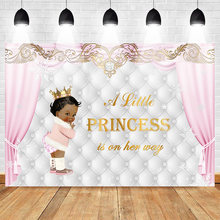 Baby Shower Backdrop Ethnic Little Princess Photography Backdrops Winter Wonderland Photo Background Newborn Crown Pink Curtain(China)