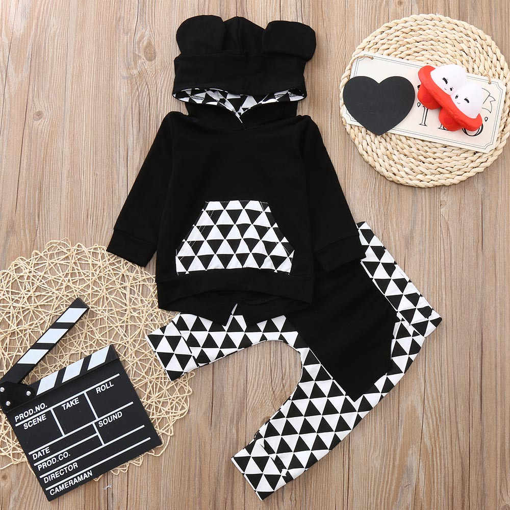 Infant Baby Boys Girls Long Sleeve Geometry Print Stylish And Fashion Design Tops Pants Outfits Clothes Aliexpress