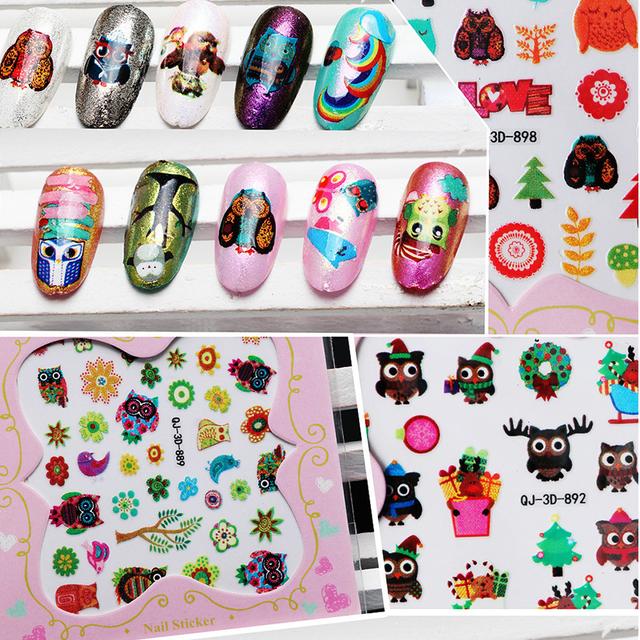 2016 Nuevo Llegado Nail Etiqueta Engomada Linda Del Búho Diseño de Agua Agua Calcomanías De Uñas 3D Decoraciones Del Arte Del Clavo Pegatinas Para Mujer QJ889-900