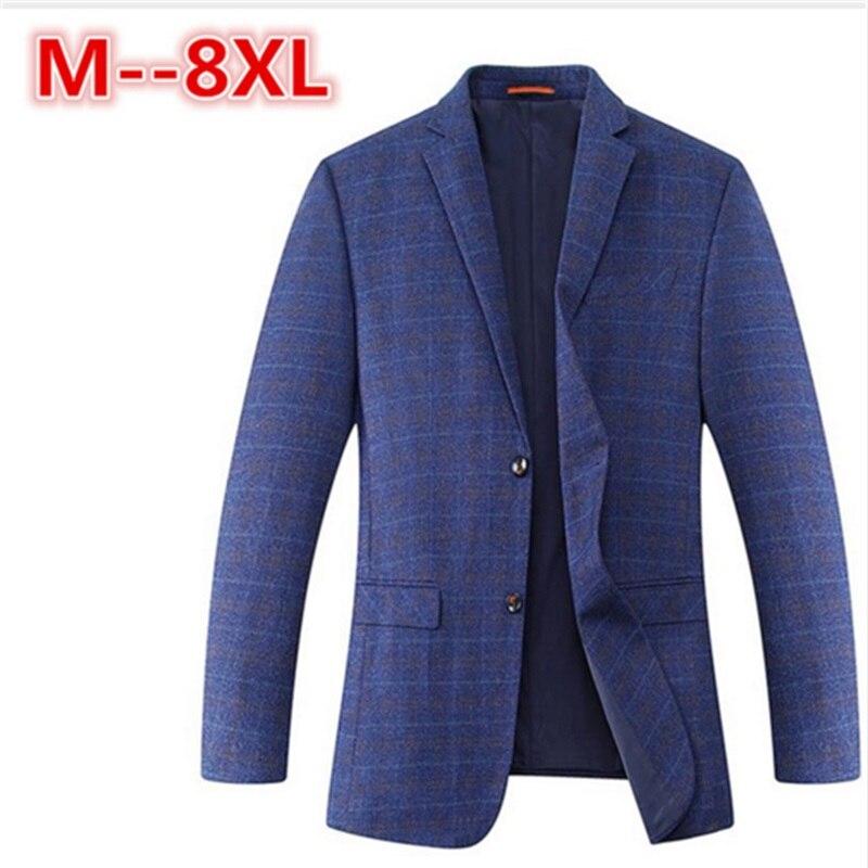2017 8XL 6XL 5XL 4XL Spring-Autumn Men's Casual Suit Blazer Slim Fit Men's Suit Jacket Casual Business Men Cotton Coat Outerwear
