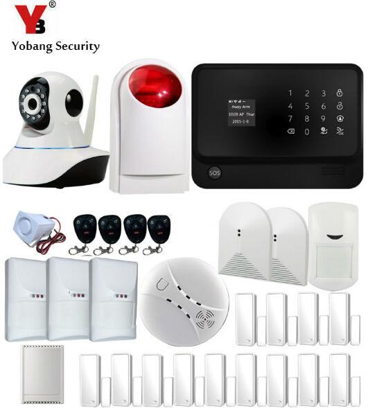 Yobang Security-Touch keypad LCD WIFI GSM IOS Android APP Home Burglar Security Alarm System IP Camera free shipping new family guard android ios app 433mhz sensor gsm sim call lcd smart dislay keypad home burglar security alarm