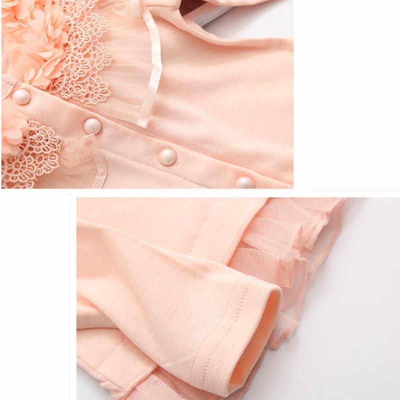 ילדים בנות ארוך שרוול פרח לפרוע טול אביב סתיו קרדיגן להאריך ימים יותר ילדי אופנה כותנה נסיכה חמודה חולצה בגדים