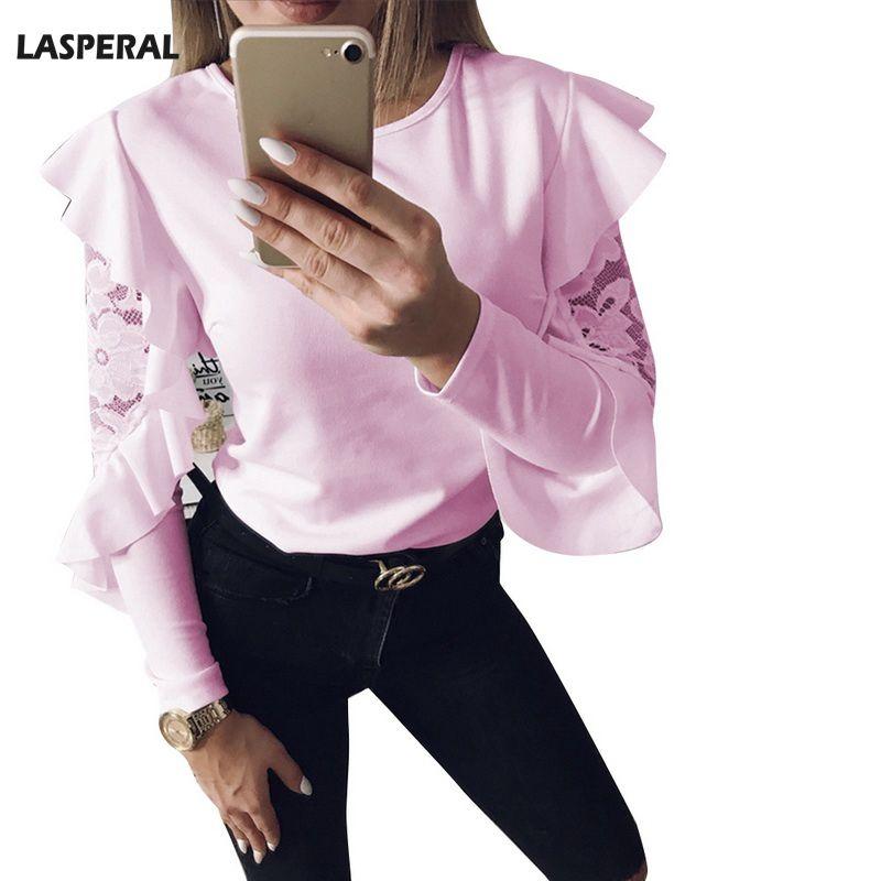 LASPERAL 2018 Spring Summer Womens Tshirt Fashion Long Sleeve Ruffles Lace Patchwork O-Neck Blusas Tee Shirts Solid Cloth Girls