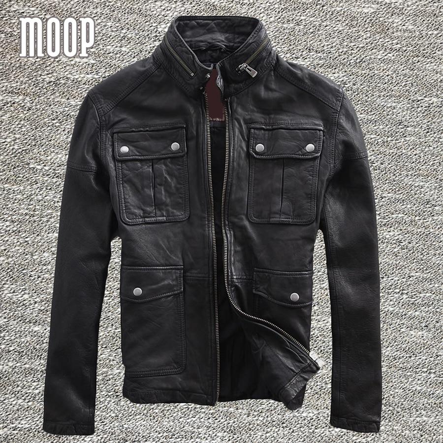 black genuine leather jacket coat men 100 sheepskin motorcycle jackets chaqueta moto hombre